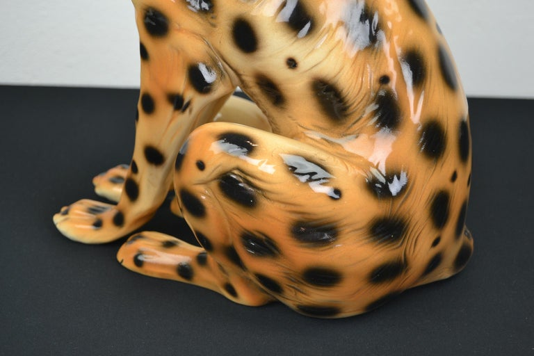 Porcelain Leopard Sculpture, 1970s, Italy For Sale 6