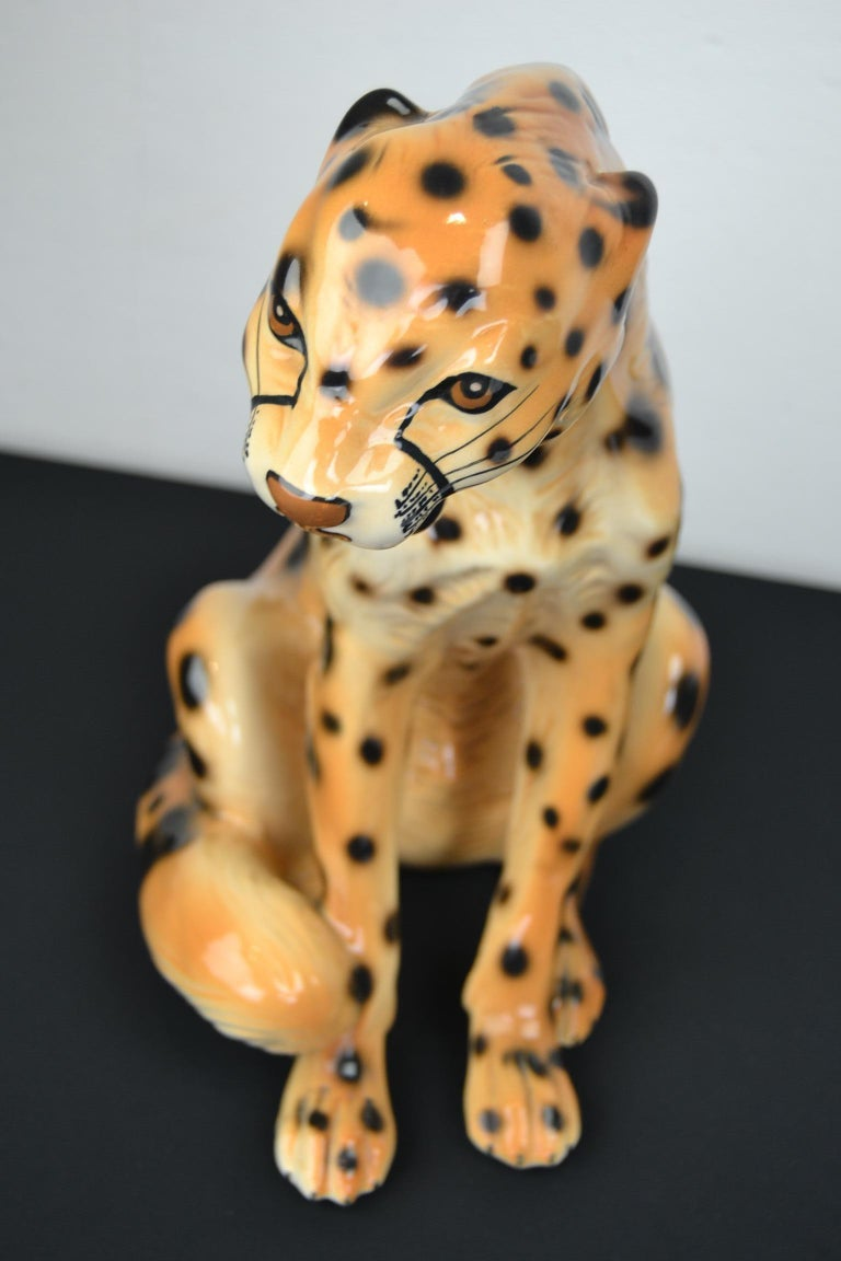 Porcelain Leopard Sculpture, 1970s, Italy For Sale 10