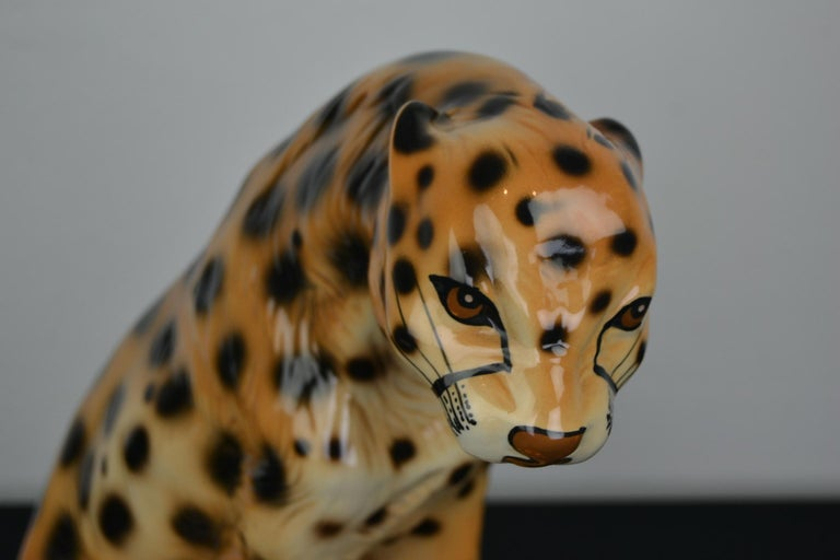Vintage 1970s leopard sculpture.