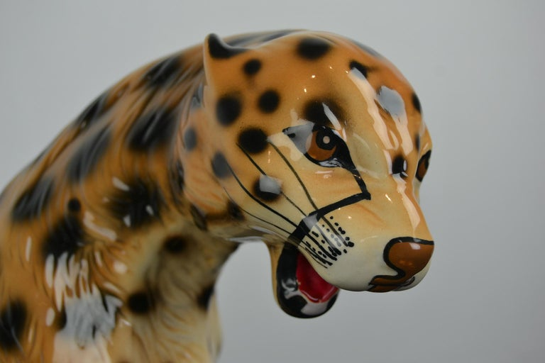 Mid-Century Modern Porcelain Leopard Sculpture, 1970s, Italy For Sale