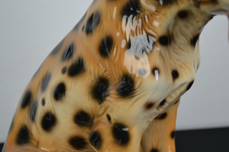 Italian Porcelain Leopard Sculpture, 1970s, Italy For Sale