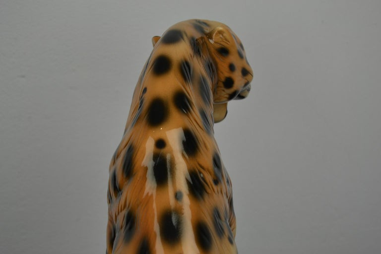 Porcelain Leopard Sculpture, 1970s, Italy For Sale 2