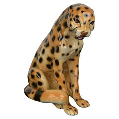Porcelain Leopard Sculpture, 1970s, Italy