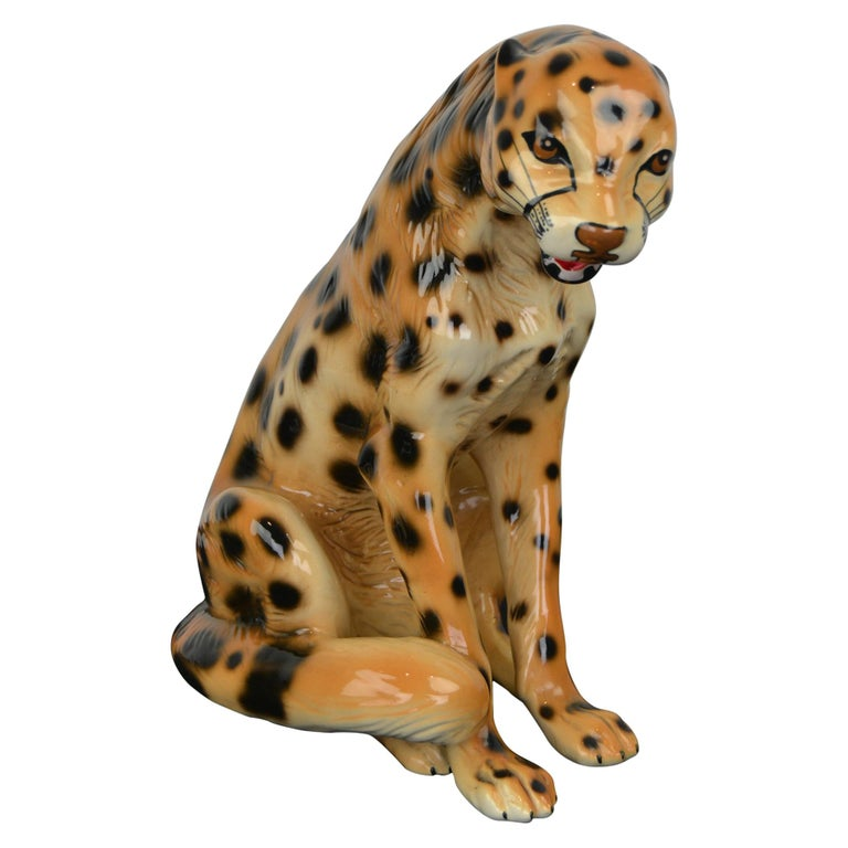 Porcelain Leopard Sculpture, 1970s, Italy For Sale