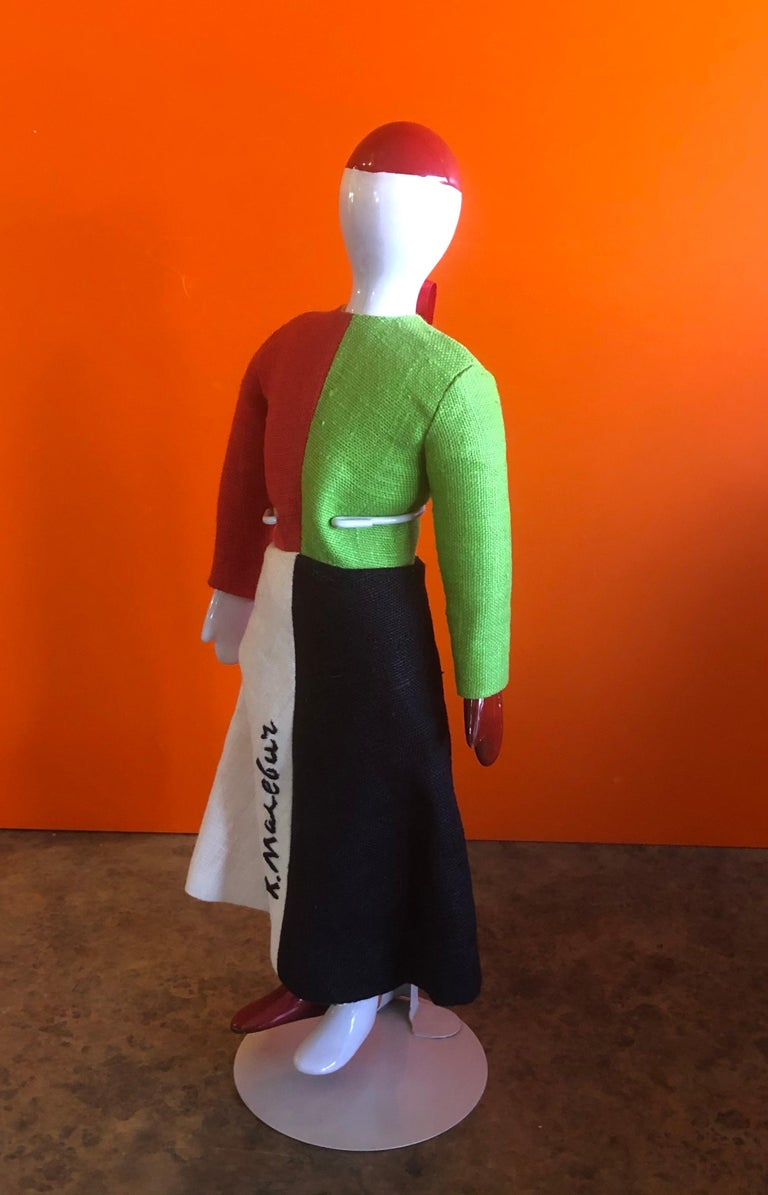 Porcelain and Linen Russian Avante Garde Doll with Stand by Kazimir Malevich For Sale 13