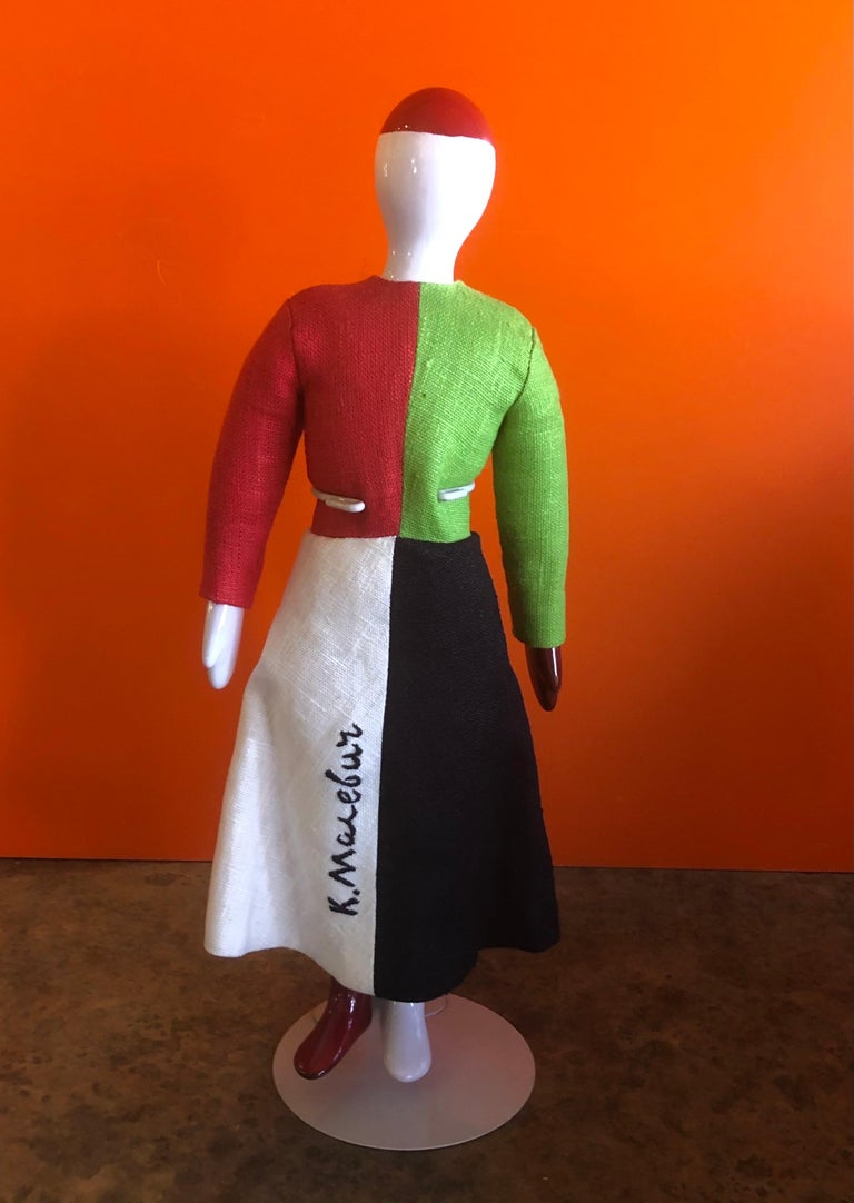 Porcelain and linen Russian Avant Garde doll entitled