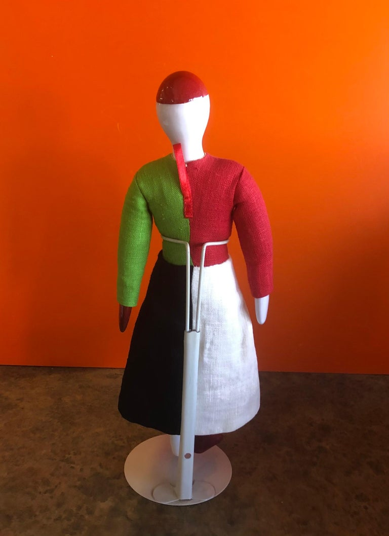 Porcelain and Linen Russian Avante Garde Doll with Stand by Kazimir Malevich For Sale 1