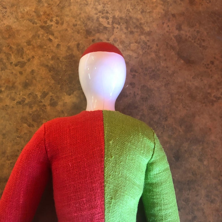 Porcelain and Linen Russian Avante Garde Doll with Stand by Kazimir Malevich For Sale 4