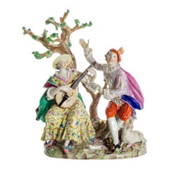 Porcelain Man and Woman Playing Music Under Tree, Germany