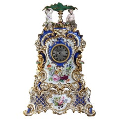 Porcelain Mantle Clock in the Taste of Jacob Petit