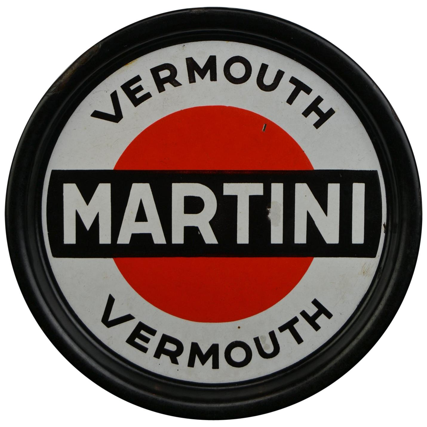 Porcelain Martini Vermouth Tray, Enamel Advertising Sign, Mid-20th Century