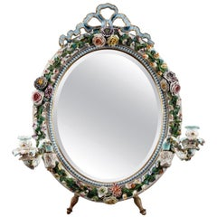 Porcelain Mirror with Barbotine Floral Decoration in Meissen Style