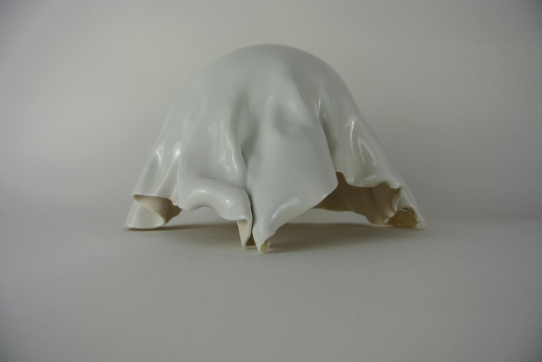 Organic Modern Porcelain Object with White Glossy Glaze For Sale