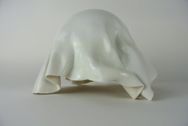 German Porcelain Object with White Glossy Glaze For Sale