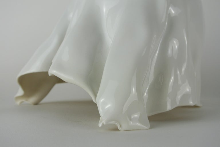 Hand-Crafted Porcelain Object with White Glossy Glaze For Sale