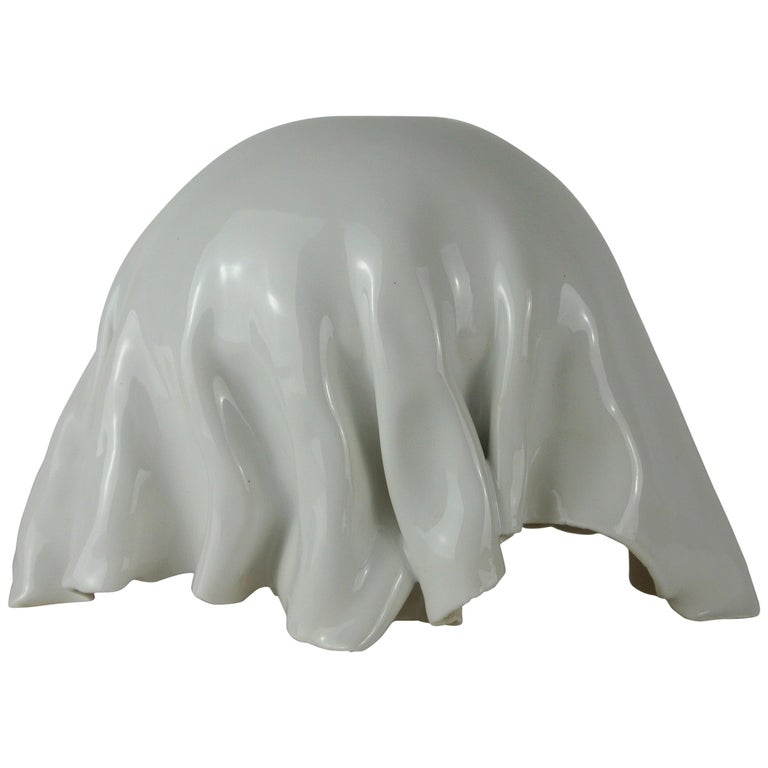 Porcelain Object with White Glossy Glaze For Sale