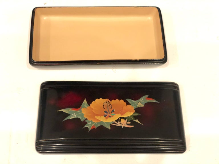 Japanese Porcelain on Metal Fine Chinoiserie Occupied Japan Art Deco Box For Sale
