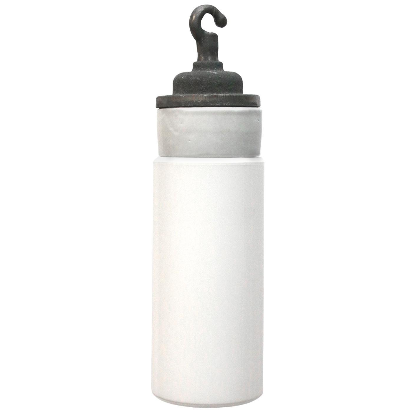Porcelain Opaline Milk Glass Industrial Cast Iron Hanging Lights