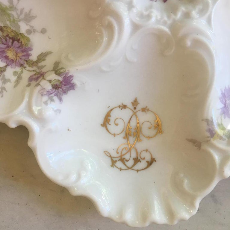 Romantic Porcelain Oyster Plate Limoges, circa 1920 For Sale