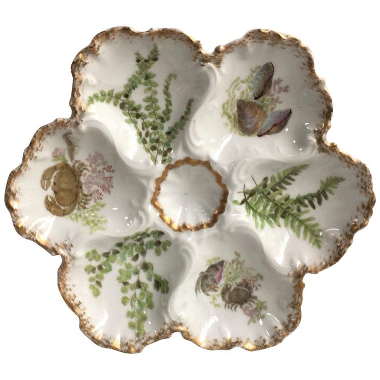 Porcelain Oyster Plate with Seaweeds and Crabs Limoges, circa 1900 For Sale