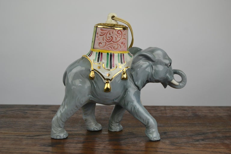 Porcelain Perfume Lamp Elephant Shaped , Germany , 1950s For Sale 6