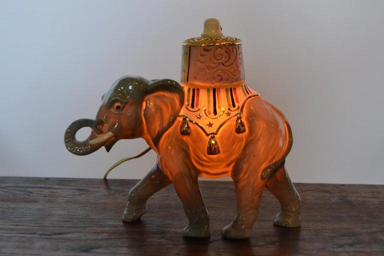 Porcelain Perfume Lamp Elephant Shaped , Germany , 1950s For Sale 10