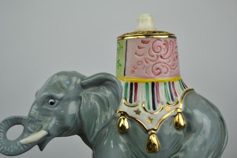 Porcelain Perfume Lamp Elephant Shaped , Germany , 1950s For Sale 2