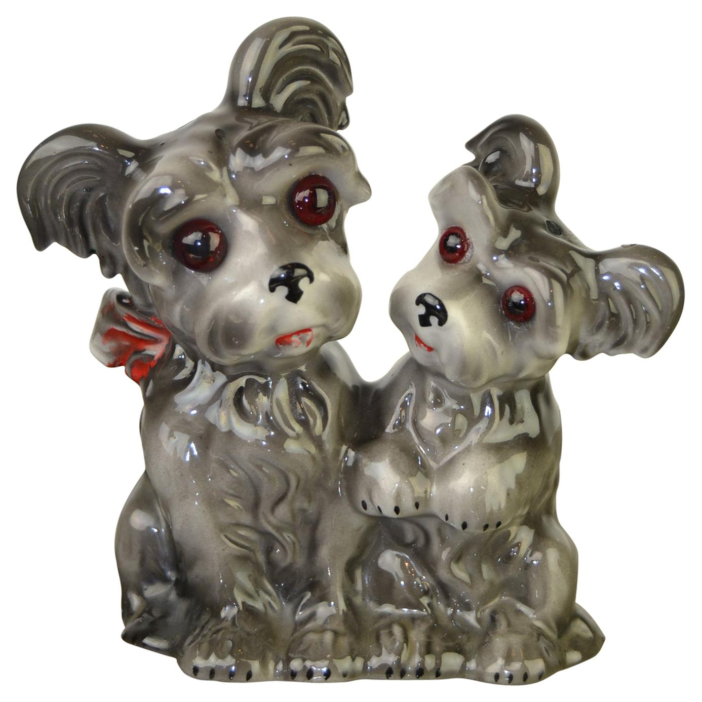 Porcelain Perfume Lamp with 2 Dogs, Germany, 1950s