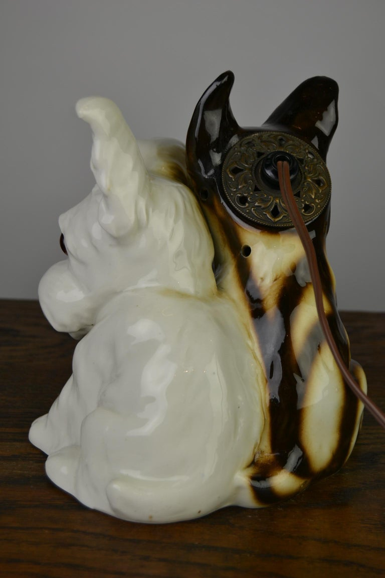 Porcelain Perfume Lamp with Two Dogs, Germany, 1950s For Sale 10
