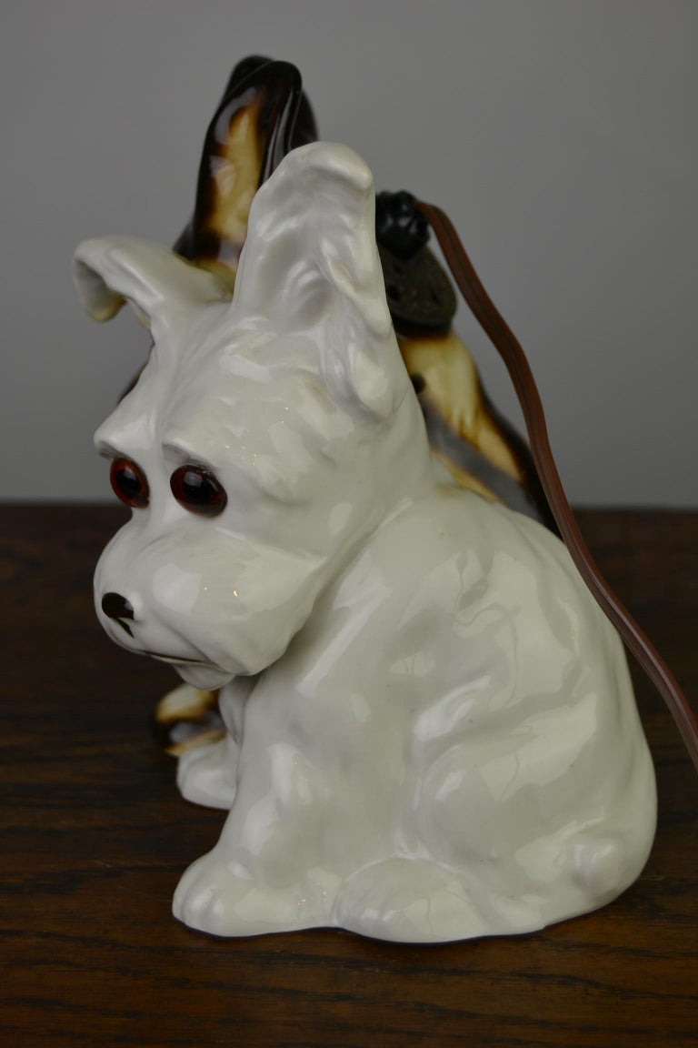 Porcelain Perfume Lamp with Two Dogs, Germany, 1950s For Sale 12