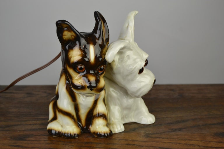 Porcelain Perfume Lamp with Two Dogs, Germany, 1950s For Sale 14
