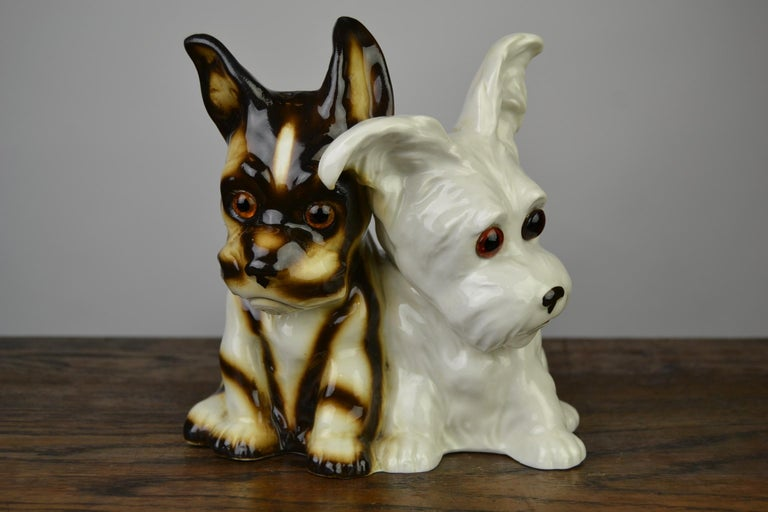 Great looking figural perfume lamp, a dual dog perfume light from the 1950s. This Late Art Deco porcelain animal light - Table lamp is a cute dog statue - Dog figurine and was made in Germany. The breed is a kind of Terrier Dog, but the brown dog