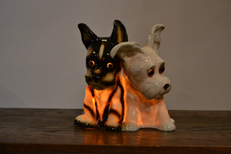 Porcelain Perfume Lamp with Two Dogs, Germany, 1950s For Sale 16