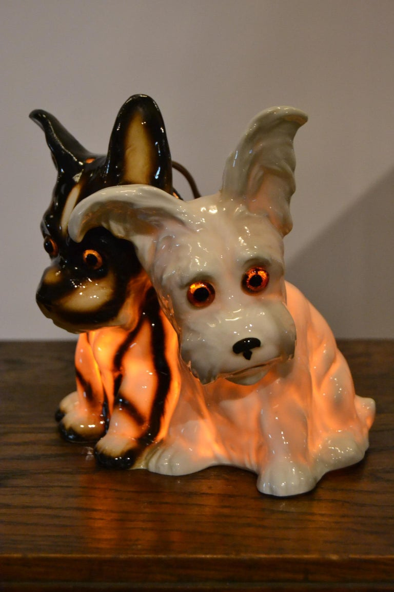 Porcelain Perfume Lamp with Two Dogs, Germany, 1950s In Good Condition For Sale In Antwerp, BE
