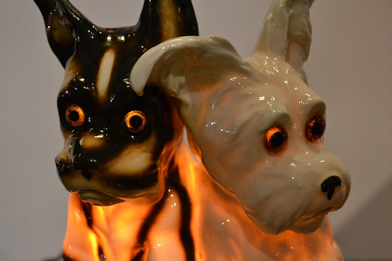 Porcelain Perfume Lamp with Two Dogs, Germany, 1950s For Sale 1