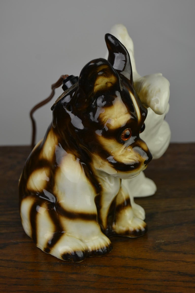 Porcelain Perfume Lamp with Two Dogs, Germany, 1950s For Sale 5