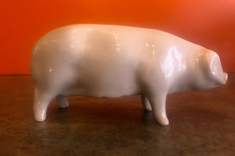 Porcelain Piggy Bank by Bovey Pottery In Good Condition For Sale In San Diego, CA