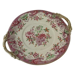 Porcelain Pink and Green Large Cookie or Cake Plate