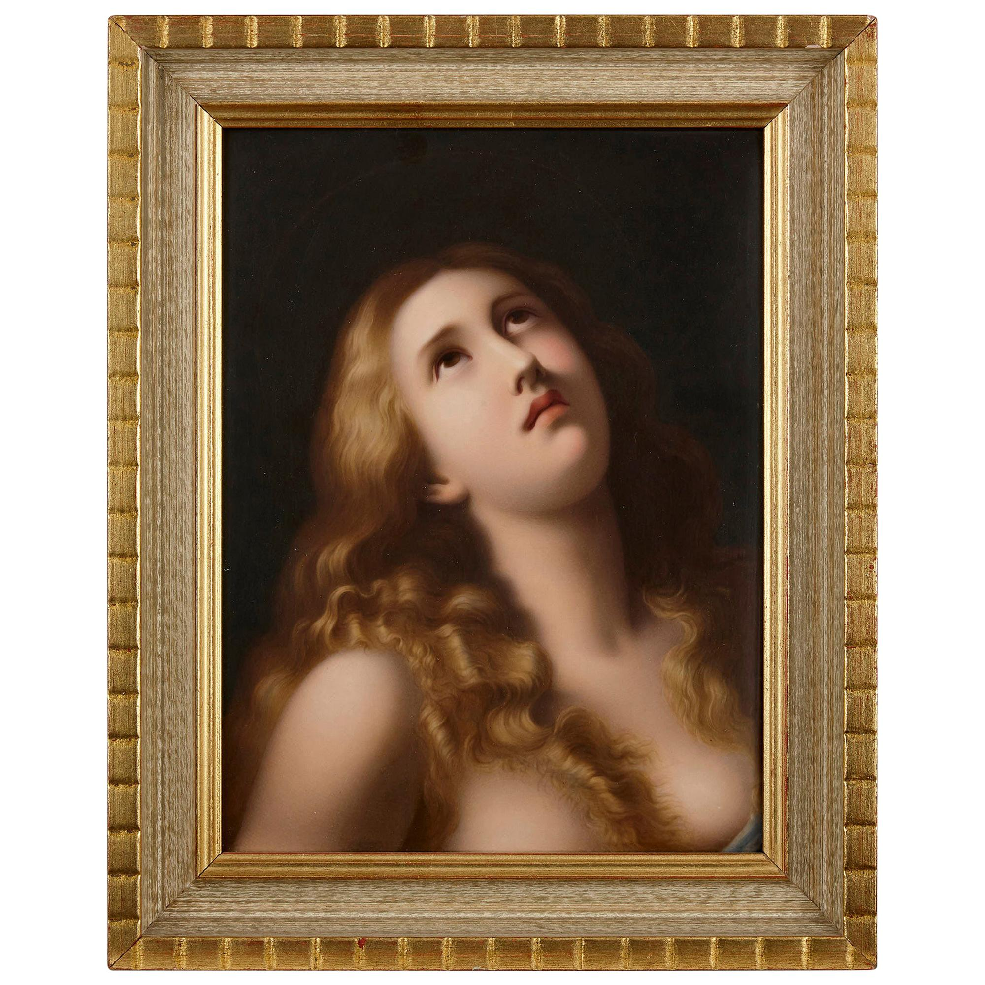 Porcelain Plaque Painted with Mary Magdalene by K.P.M