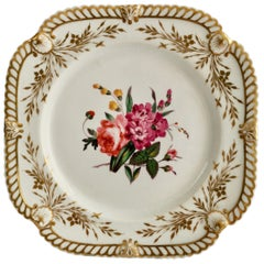 Porcelain Plate, Chamberlains Worcester, White with Flowers, Regency ca 1822 '2'