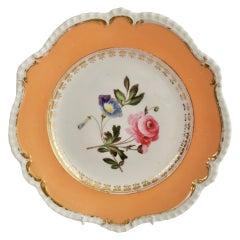 Porcelain Plate Coalport, Peach with Flowers, Regency 1820-1825