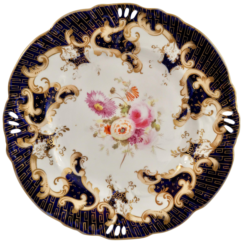 Porcelain Plate, Samuel Alcock, Cobalt Blue, Flowers, Rococo Revival ca 1845 '2'
