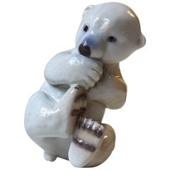Porcelain Polar Bear Cub by Merete Agergaard for Bing & Grøndahl, Denmark, 1970s