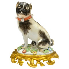 Porcelain Pug Dog on a Gilt Bronze Rococo Base after a Model by Johann Kaendler