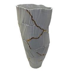 Porcelain Rib Textured Vase, Italy, Contemporary