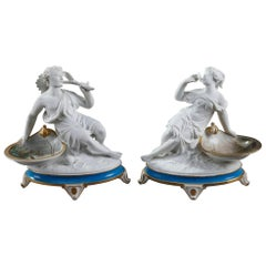 Porcelain Ring Holders with Bisque Figurines and Birds Decoration