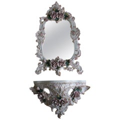 Porcelain Rococo Wall Console with a Hanging Mirror