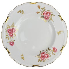 Porcelain Royal Crown Derby Plate in Pinxton Roses Pattern, 1940s