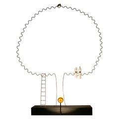 """Porcelain Sculpture Table Lamp """"Our Hut"""", France"""