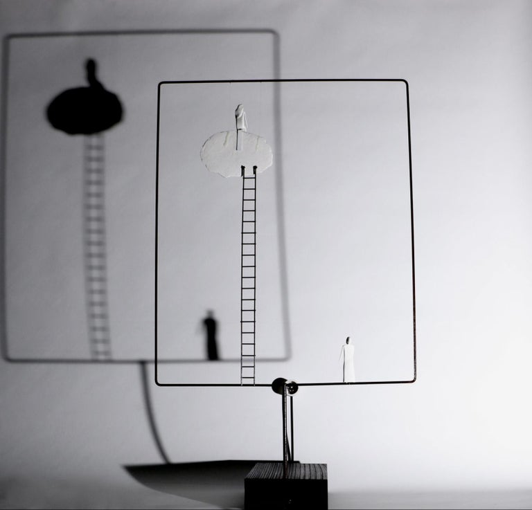 Burnished Porcelain Sculpture Table Lamp 'Sharing Our Cloud', France For Sale